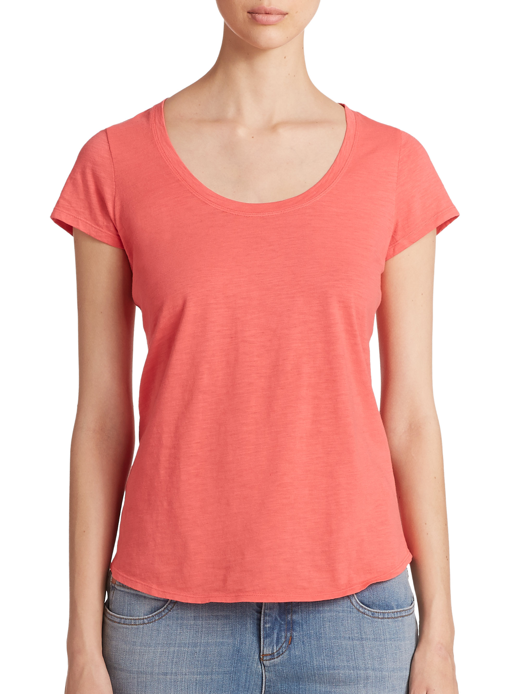 Eileen fisher organic cotton tee in pink lyst for Eileen fisher organic cotton t shirt