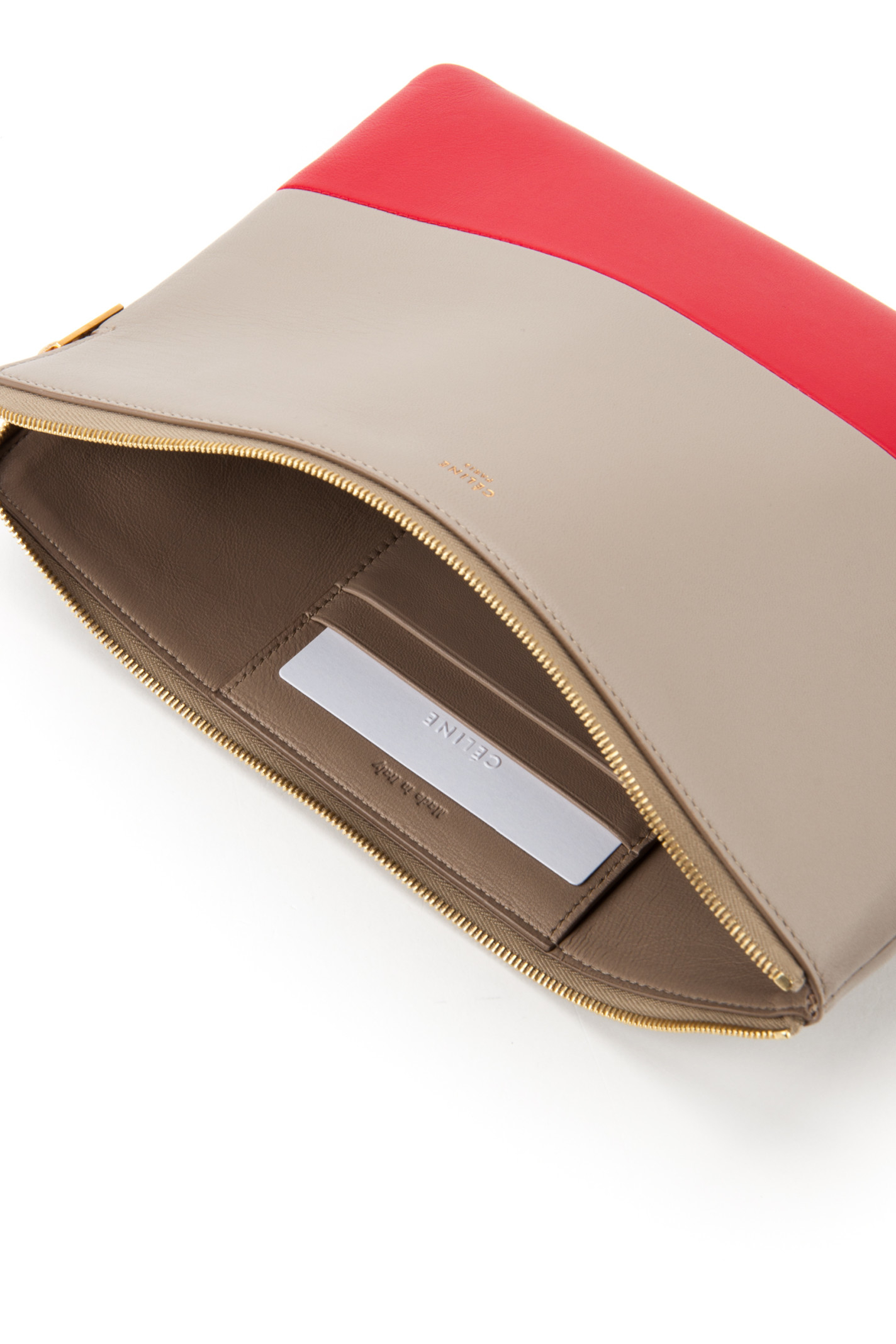 C¨¦line Clutch Pouch in Red (LIGHT TAUPE RED) | Lyst