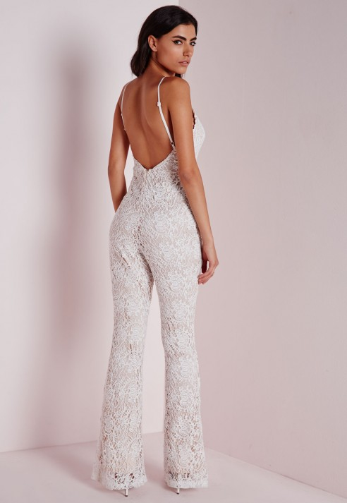 Missguided Flared Leg Lace Jumpsuit Ivory in White | Lyst