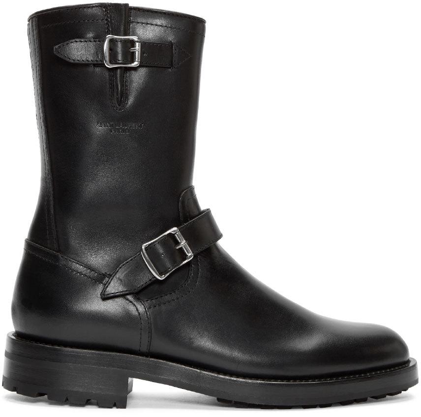 Saint Laurent Leather Buckled Boots U9KW2RImBn