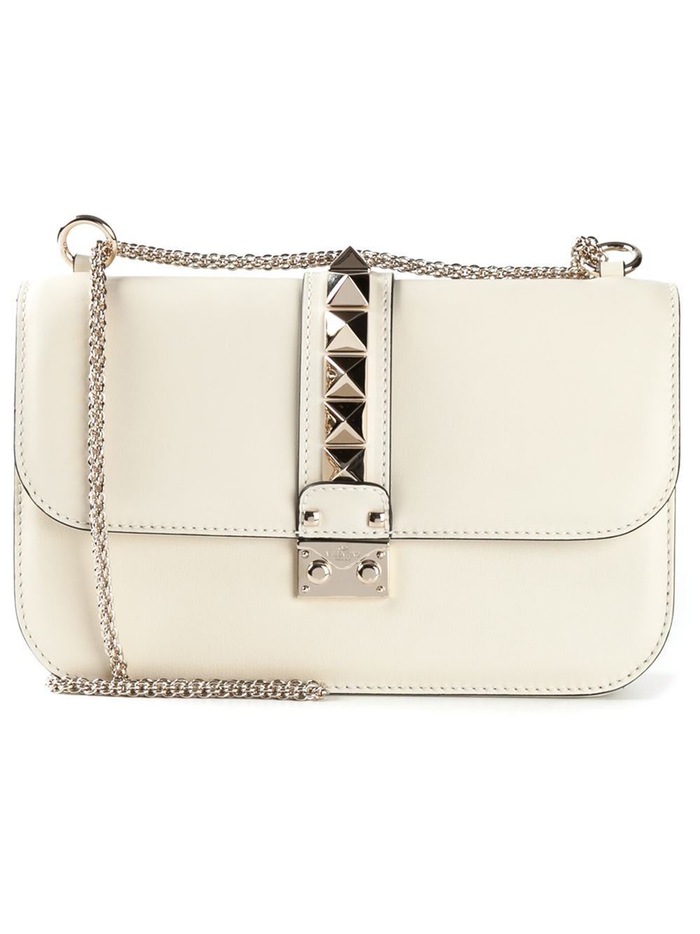 c0417f4da4 Valentino Glam Lock Leather Shoulder Bag in White - Lyst