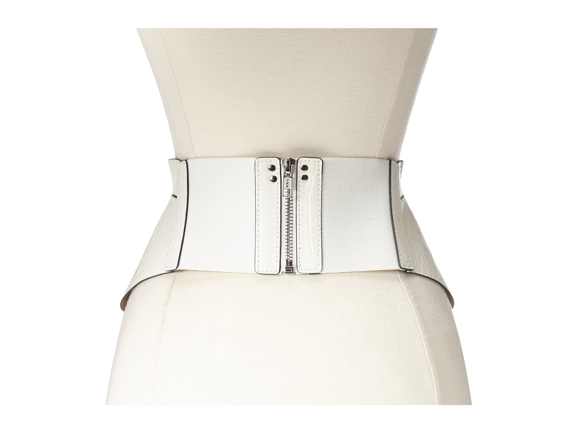 13927e195a5 Lyst - BCBGMAXAZRIA Zip Corset Waist Belt in White