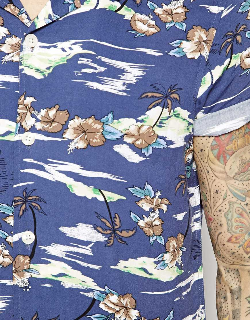169e1fca ASOS Hawaiian Shirt in Short Sleeve with Palmtree Print in Blue for ...