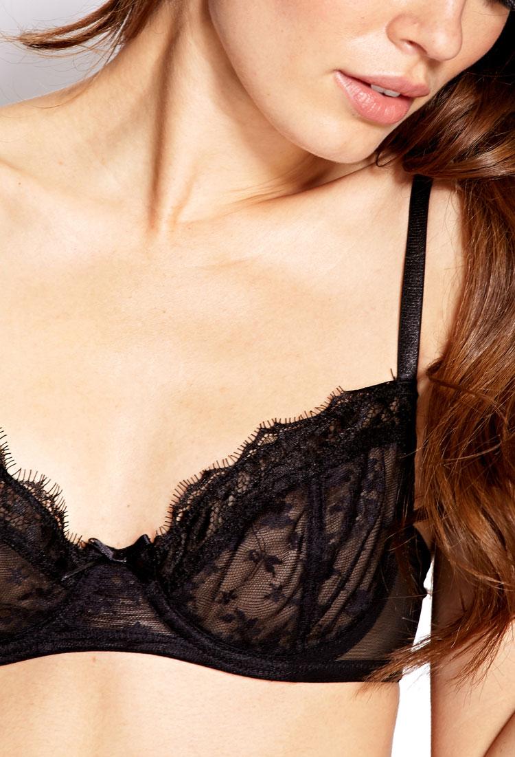 Lyst forever 21 sheer lace demi bra in black - Armoire demi penderie demi lingere ...