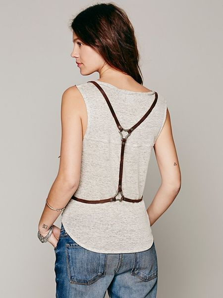 Free People Suede Harness Vest In Brown Chocolate Lyst