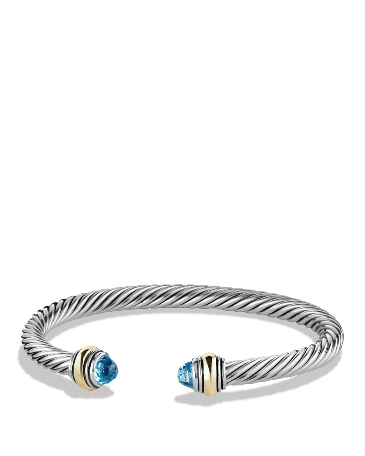 David Yurman Cable Classics Bracelet With Blue Topaz And