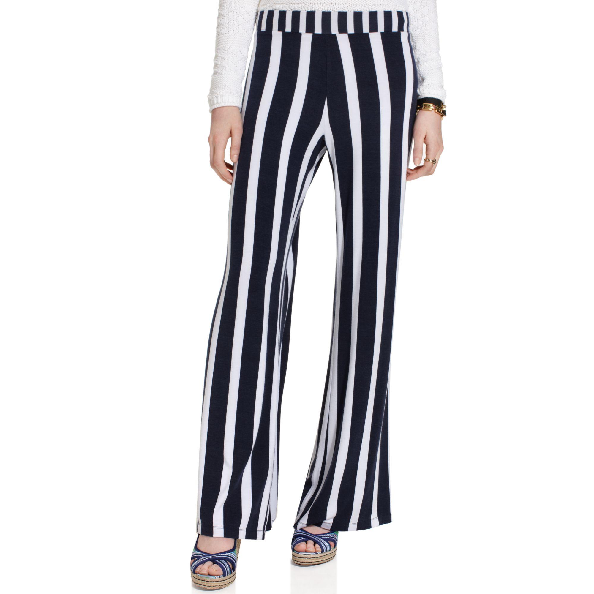 tommy hilfiger striped wideleg pullon pants in blue bright white navy stripe lyst. Black Bedroom Furniture Sets. Home Design Ideas