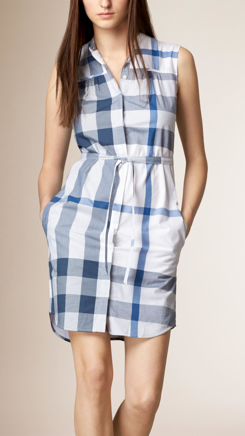 Burberry Checked Cotton Voile Shirt Dress In Blue Lyst