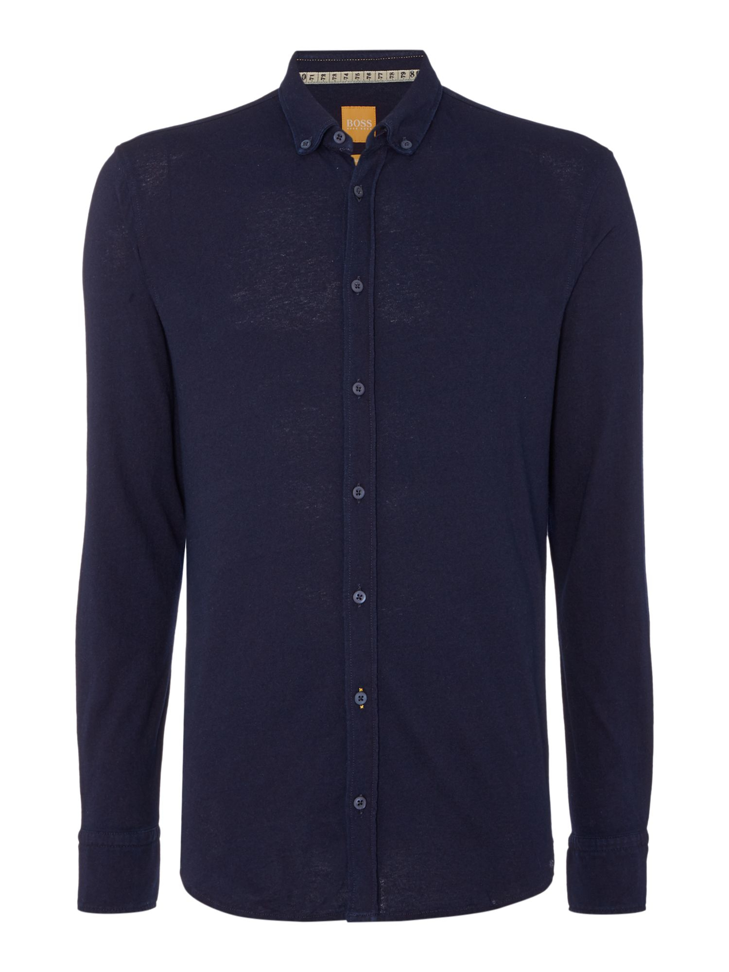 Boss edipoe slim fit button down jersey shirt in blue for for Navy slim fit shirt