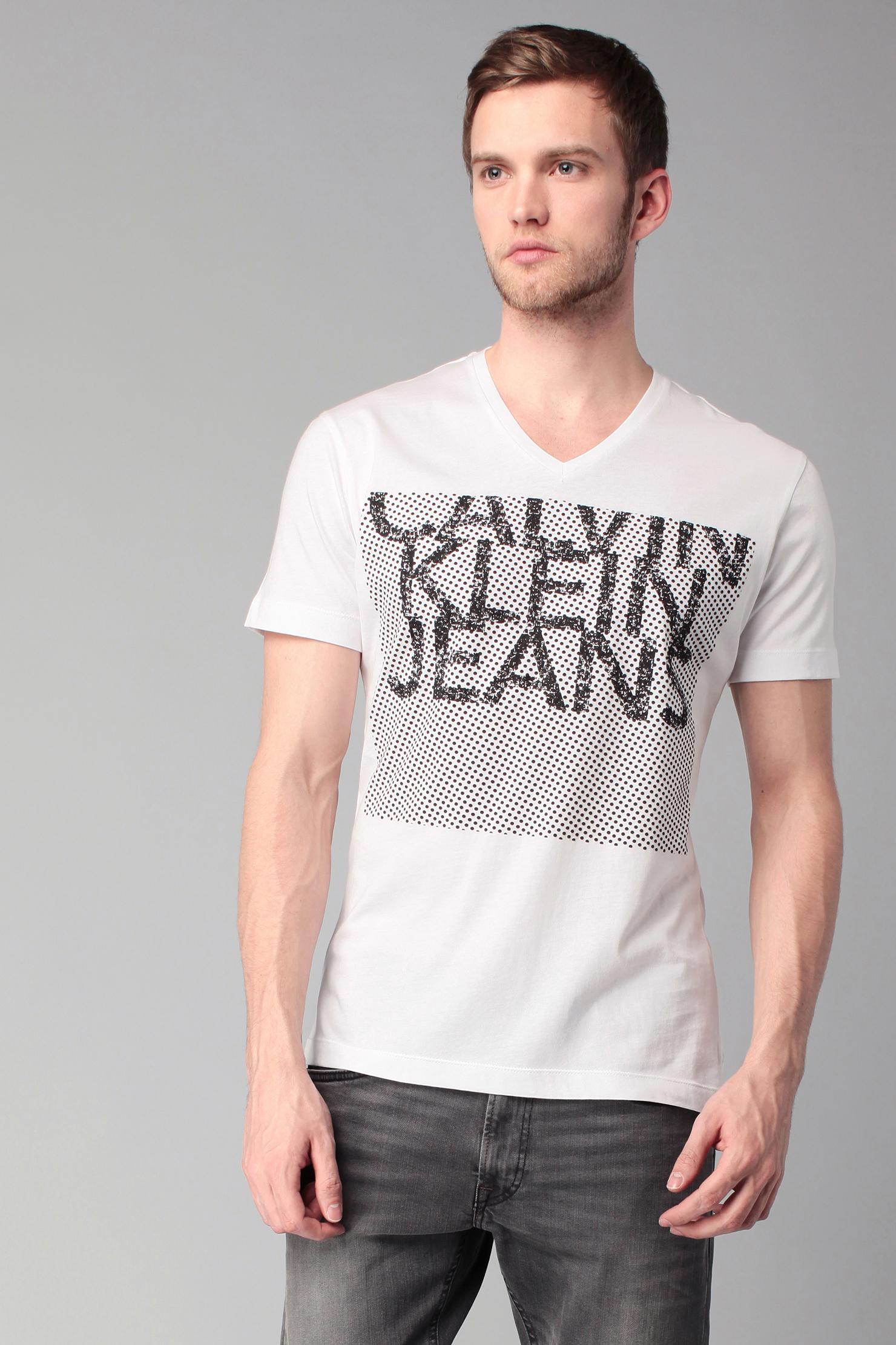 calvin klein printed t shirt in white for men lyst. Black Bedroom Furniture Sets. Home Design Ideas