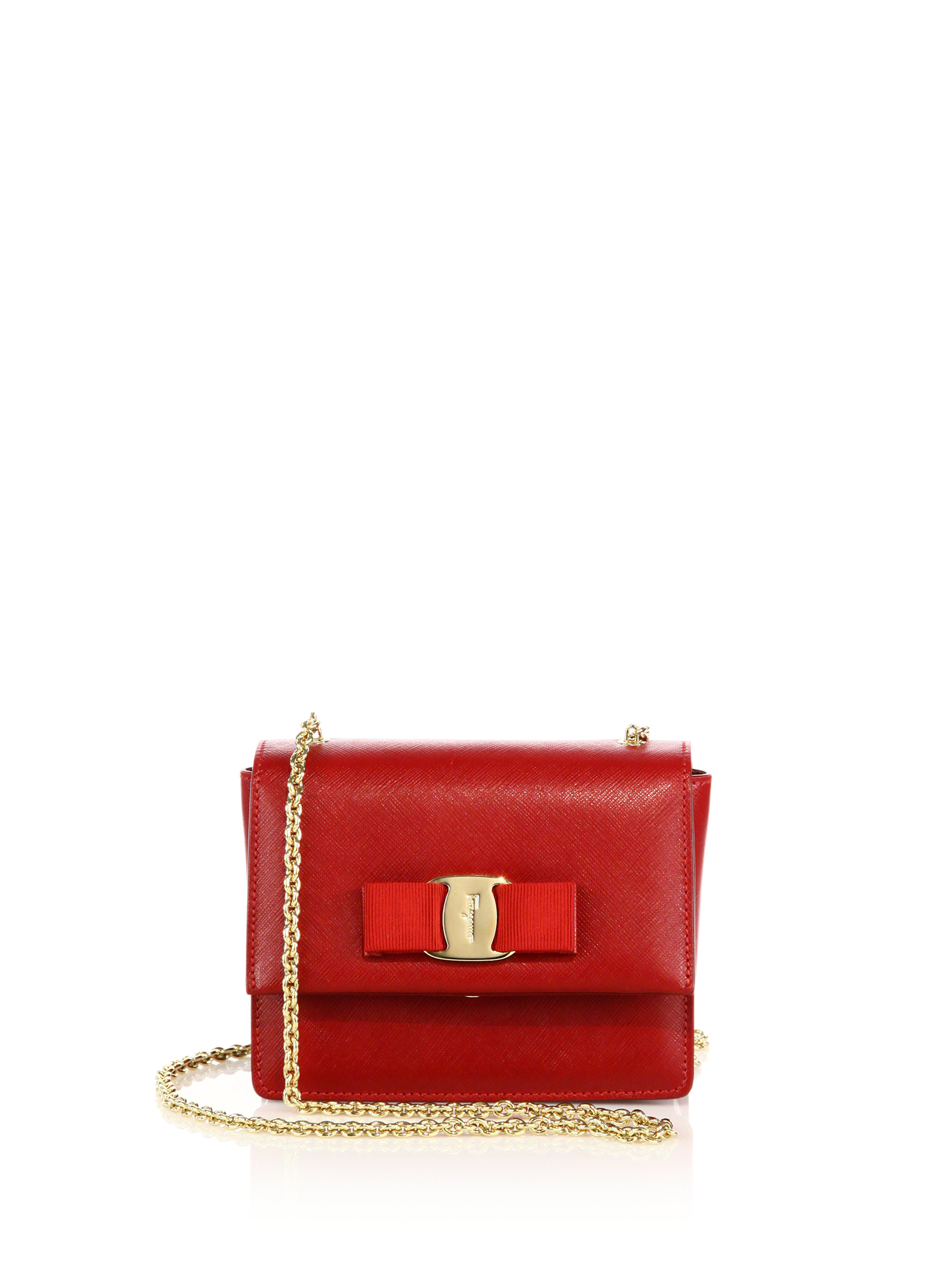 Lyst - Ferragamo Ginny Mini Square Saffiano Leather Crossbody Bag in Red 3897195a1c622