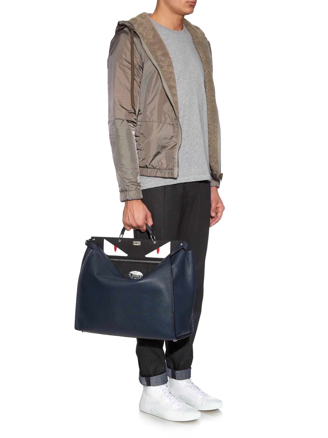 d29f9d67ddc Fendi Selleria Peekaboo Leather Tote in Blue for Men - Lyst