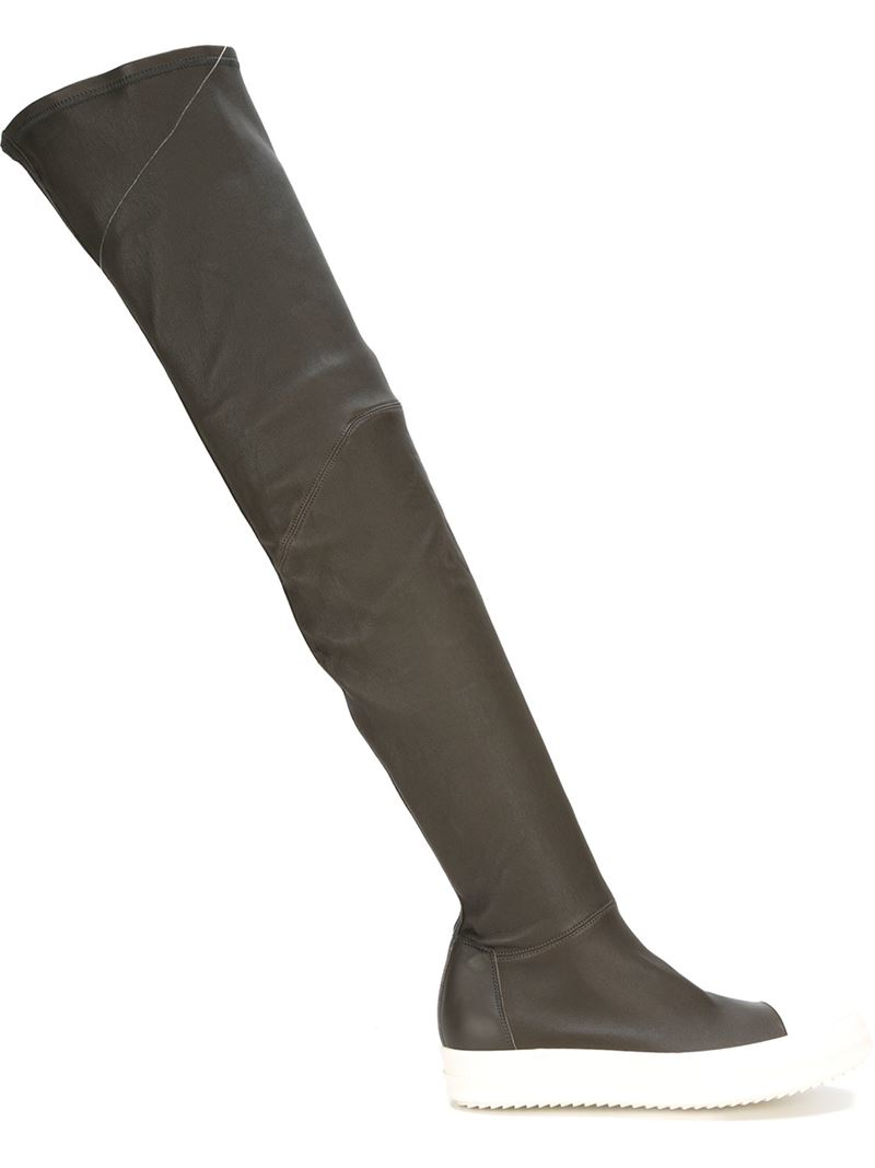 Rick owens Thigh High Sneaker Boots in Gray | Lyst