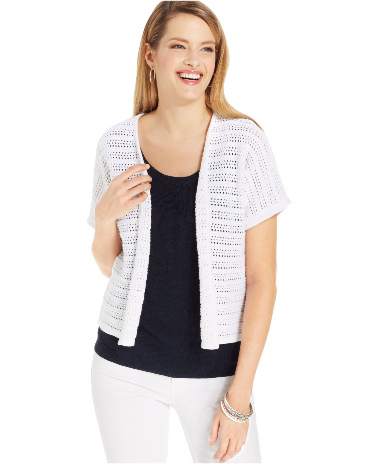 Jones new york Collection Open-Knit Short-Sleeve Cardigan in White ...