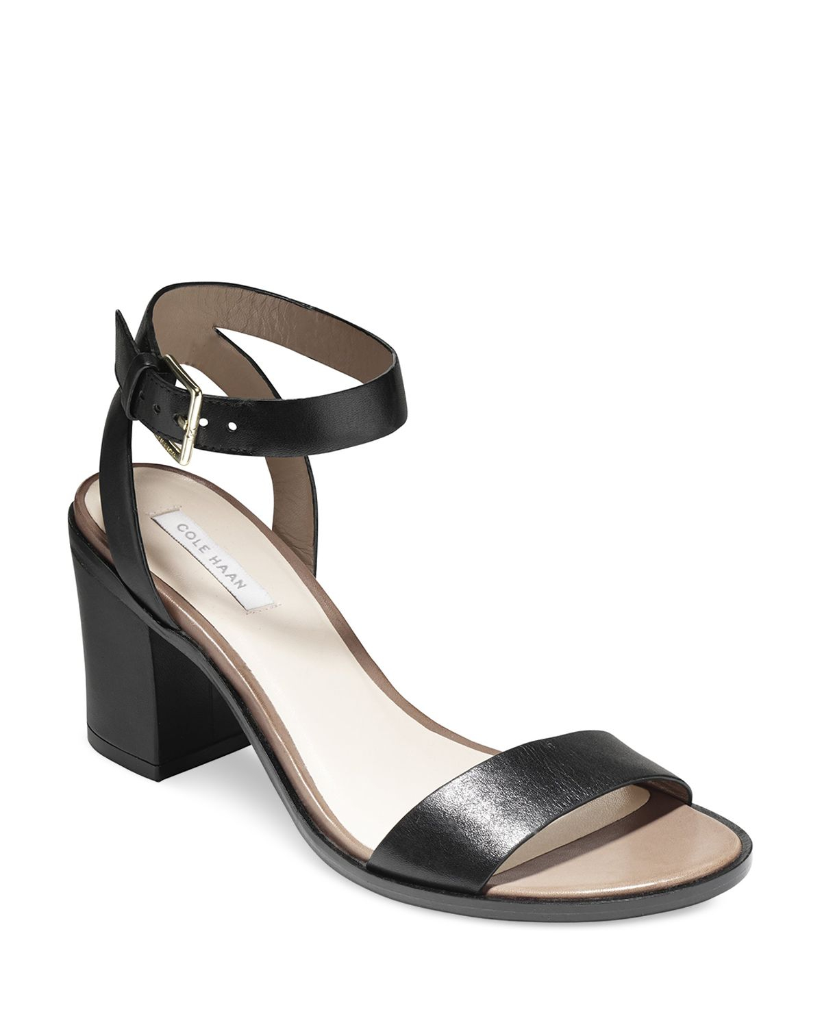 53b03245cab Lyst - Cole Haan Ankle Strap Sandals - Cambon City Mid Heel in Black