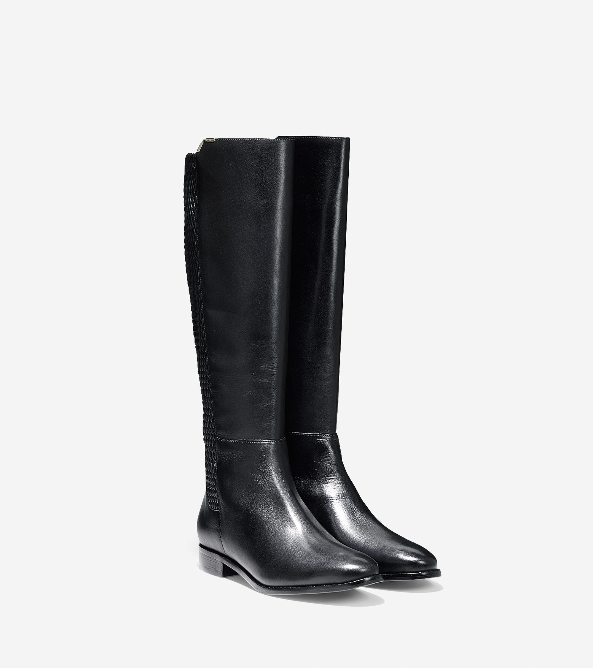 cole haan rockland leather knee high boots in black black