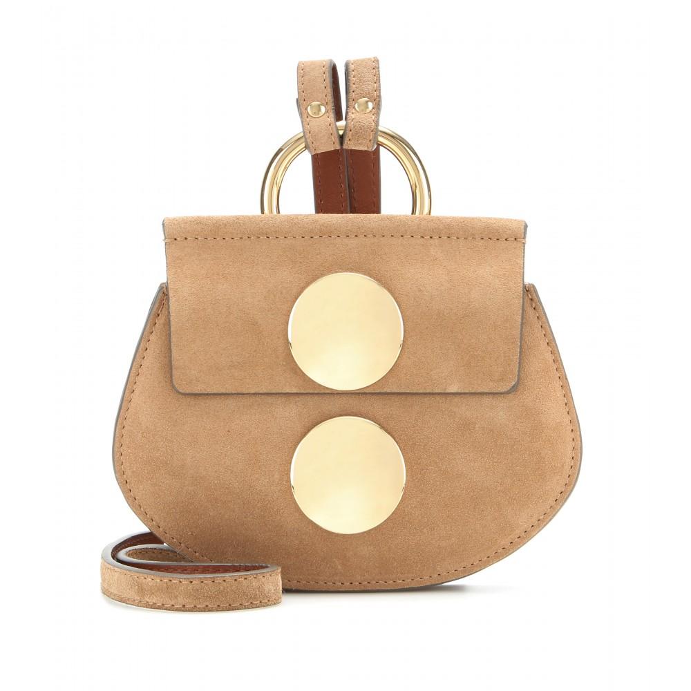 Chlo�� Faye Mini Suede Shoulder Bag in Gold | Lyst