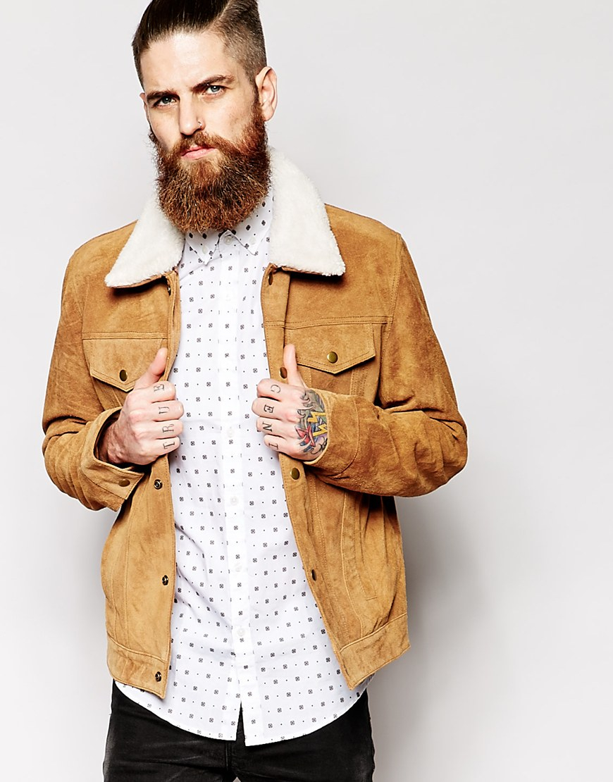 Asos Suede Western Jacket With Faux Shearling in Brown for Men | Lyst