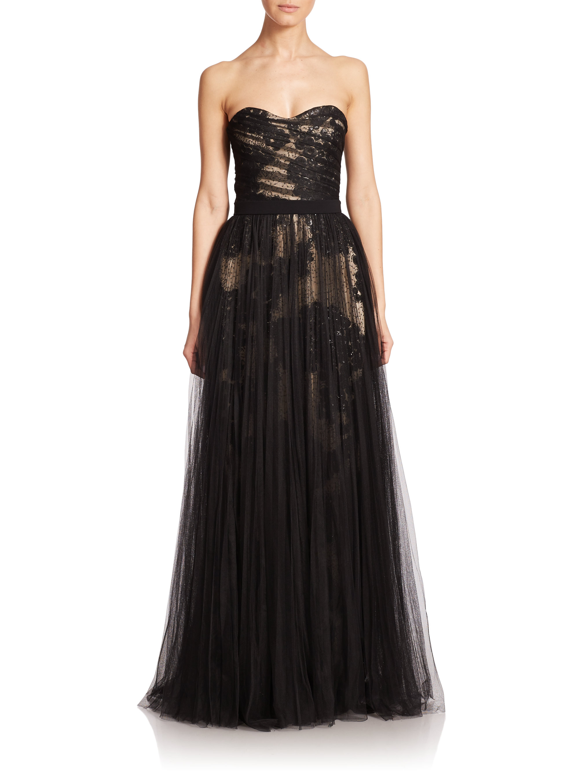 Lyst - Pamella roland Lace & Tulle Strapless Gown in Black