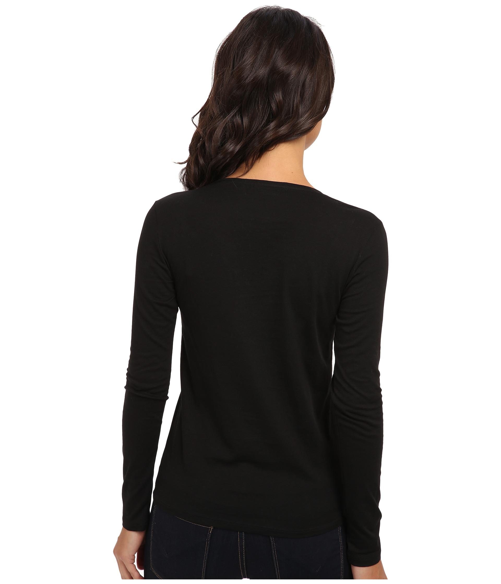 lacoste long sleeve cotton v neck t shirt in black lyst. Black Bedroom Furniture Sets. Home Design Ideas