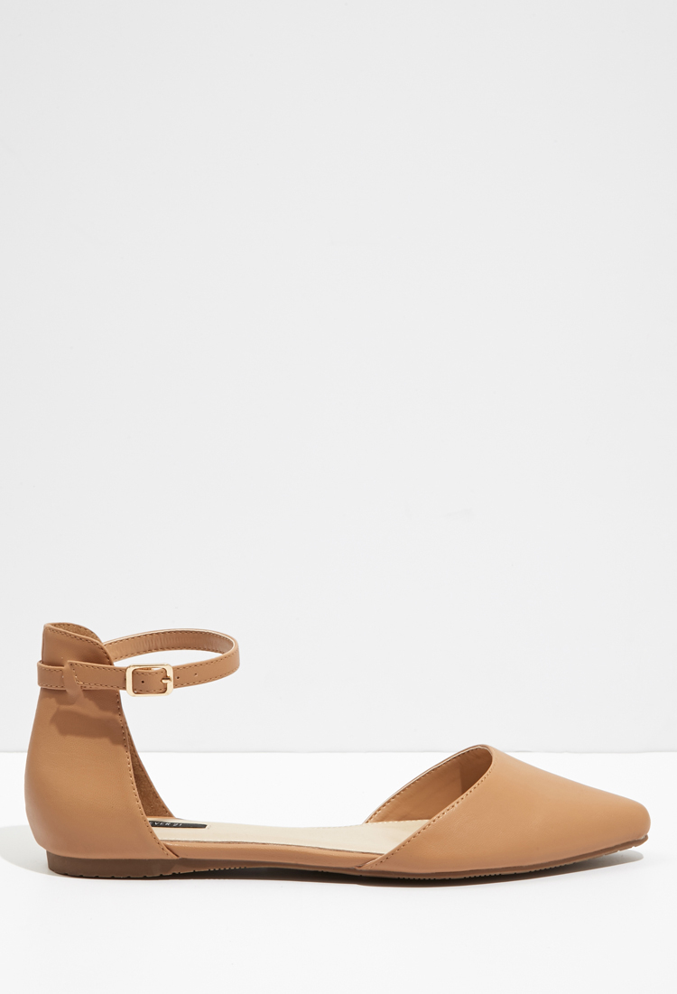 ed4438957542 Forever 21 Pointed Ankle-strap Flats in Natural - Lyst