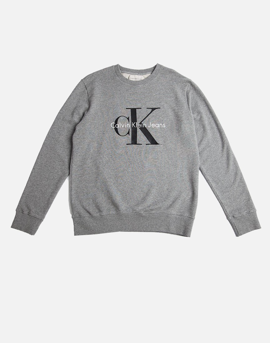 calvin klein jeans classic sweatshirt grey in gray for men. Black Bedroom Furniture Sets. Home Design Ideas