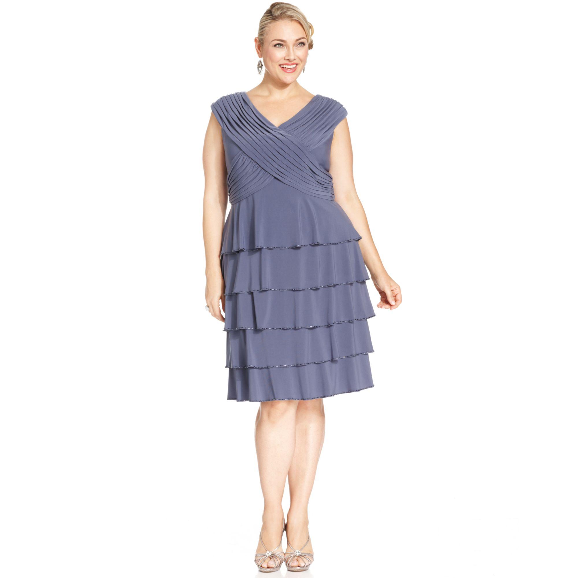 Patra Plus Size Beadtrim Tiered Dress in Blue - Lyst