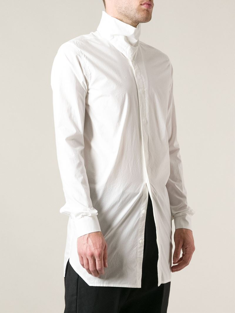 Lyst rick owens high collar shirt in white for men for Mens high collar dress shirts