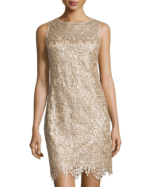 32e3b9776a229f Lyst - Julia Jordan Sequin And Lace Sheath Dress in Natural