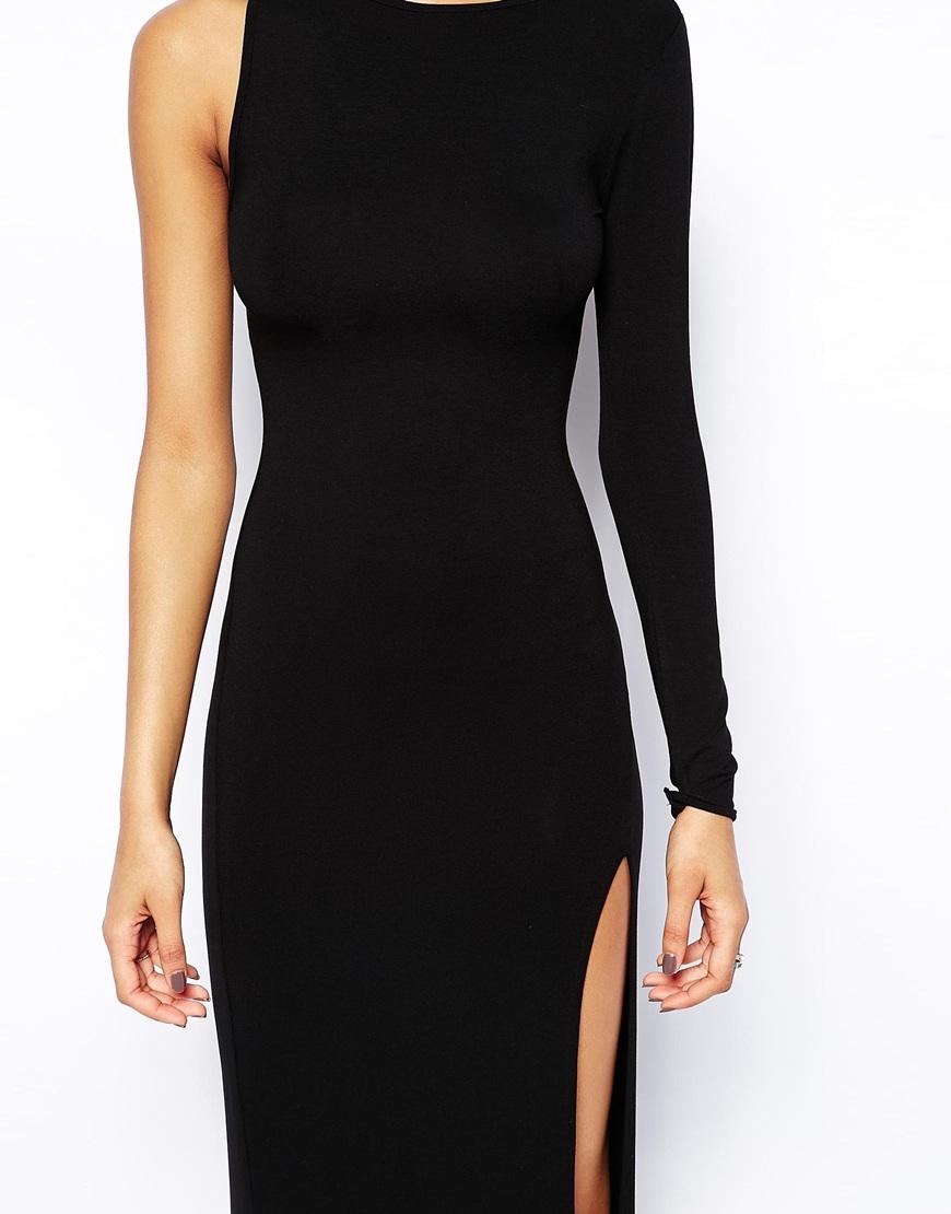 Asos One Sleeve Maxi Dress In Black Lyst
