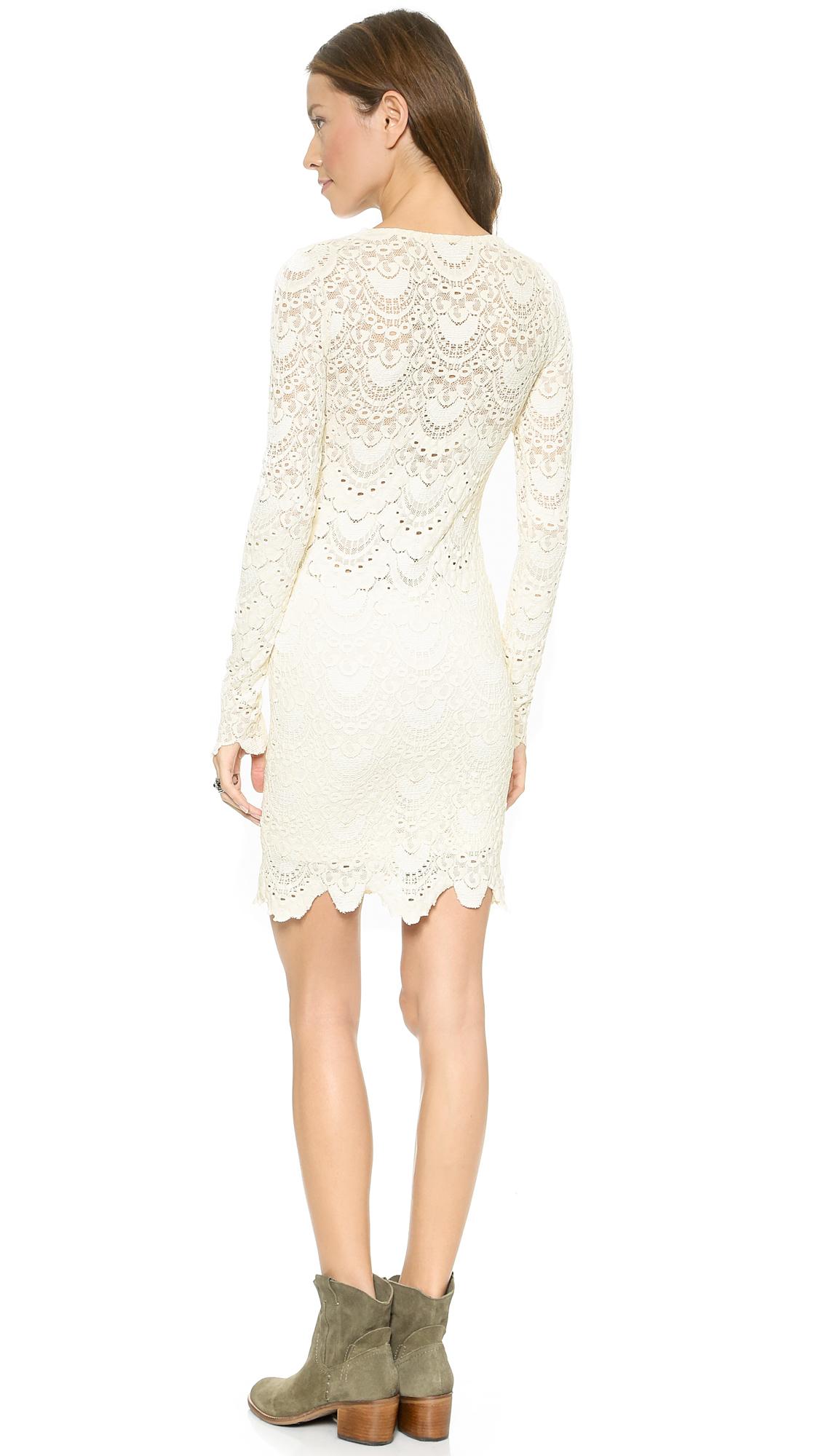 ba4d2c0028 Lyst - Nightcap Spanish Lace Long Sleeve Deep V Dress - Ivory in White
