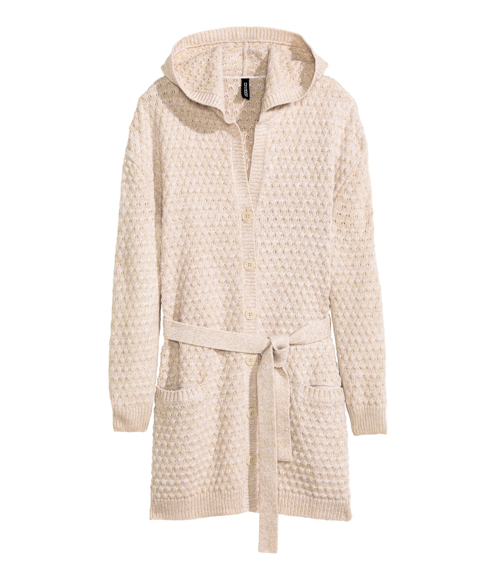 H&m Hooded Cardigan in Natural | Lyst