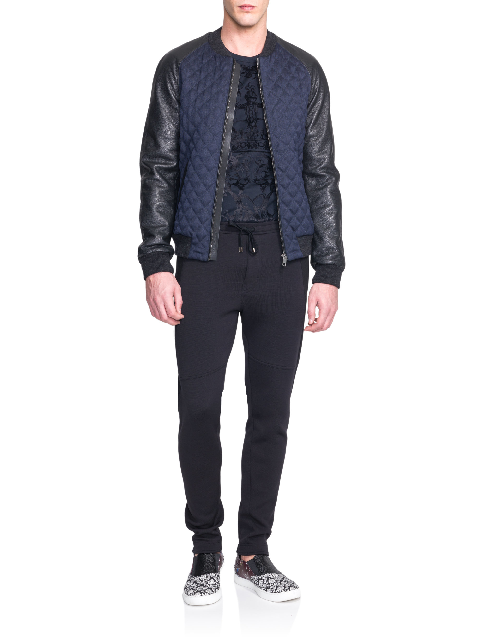 Dolce Gabbana Quilted Wool Leather Jacket In Blue For