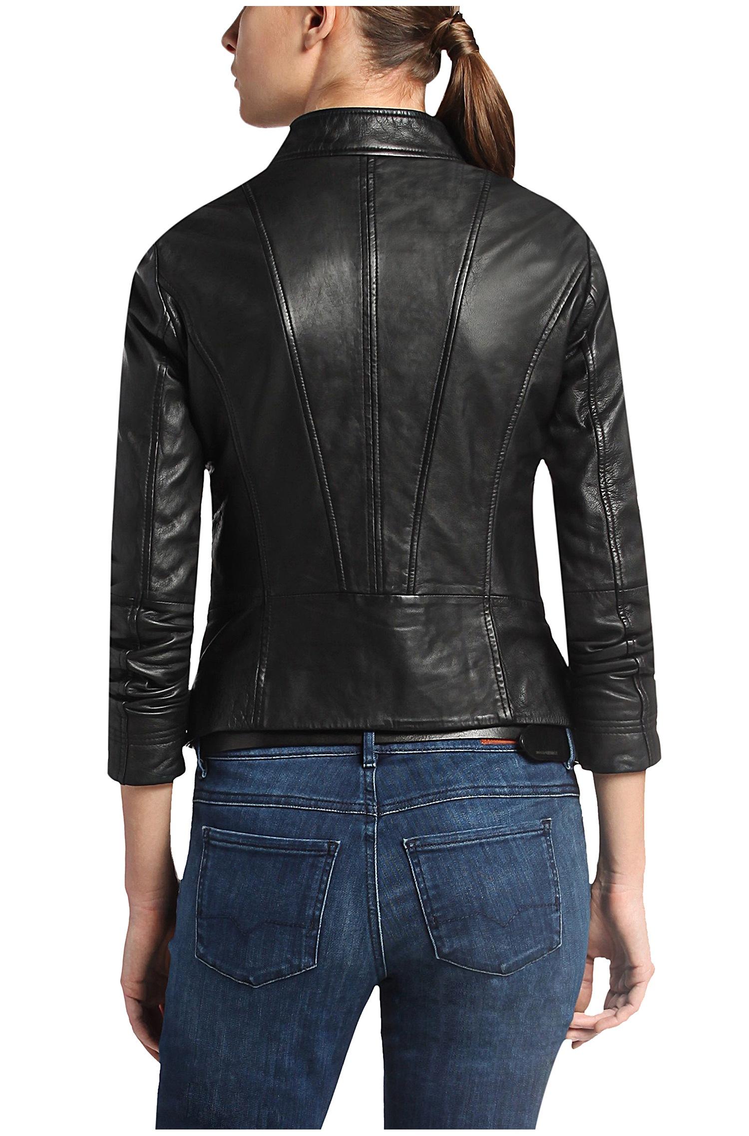 boss orange leather jacket womens caffection. Black Bedroom Furniture Sets. Home Design Ideas