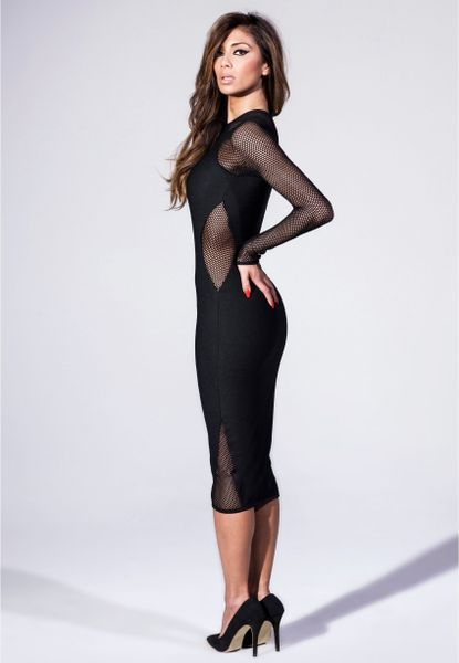 Dress With Fishnet Panel