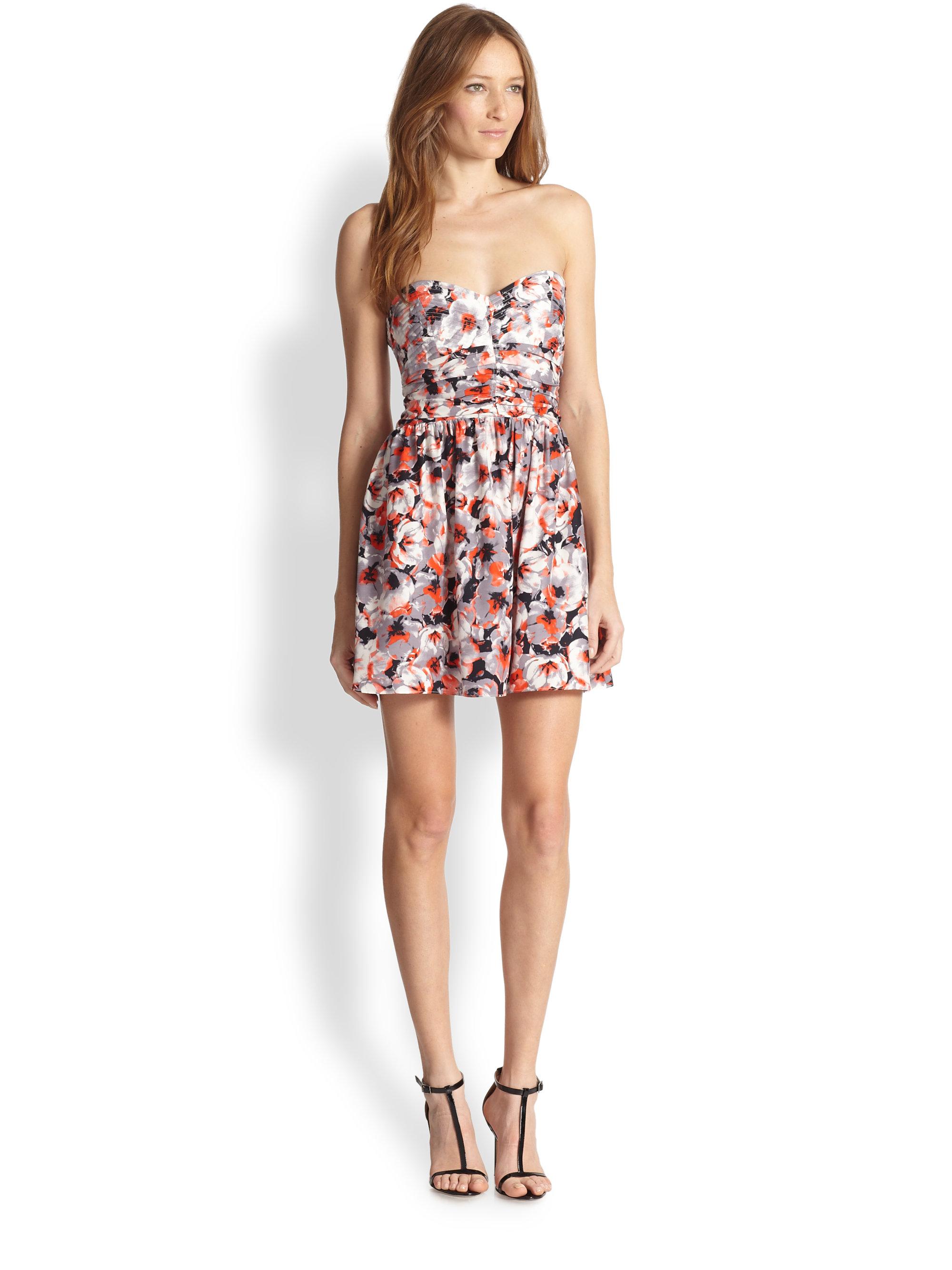 Parker Melrose Silk Strapless Floral-Print Dress | Lyst