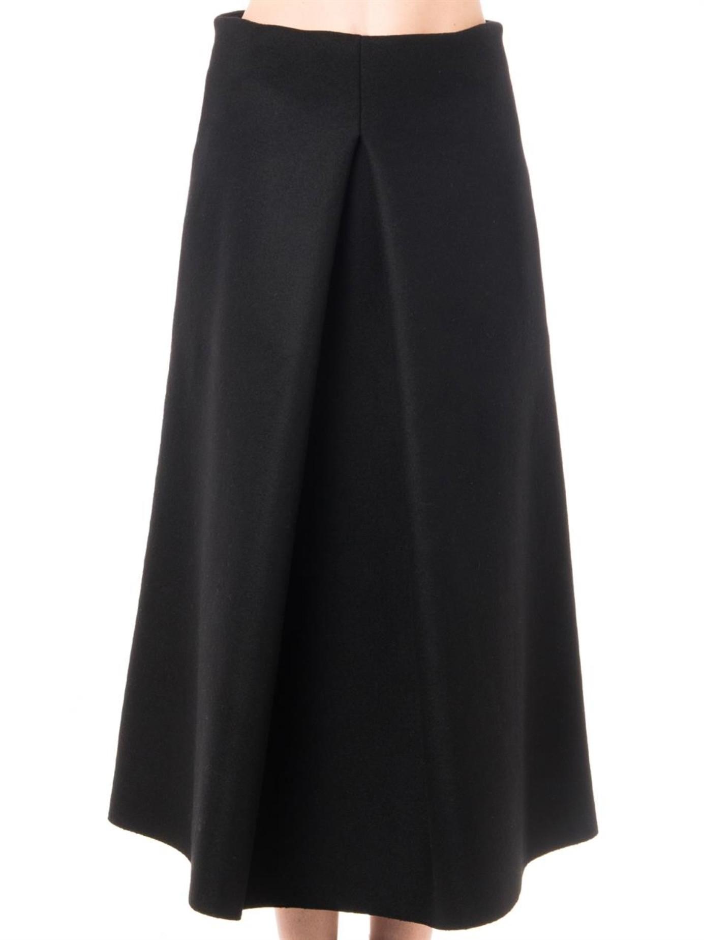 lucas nascimento pleat front midi skirt in black lyst
