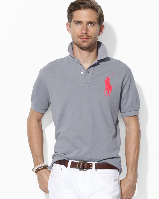 ea91daafaa48 ... order lyst ralph lauren polo custom big pony mesh polo shirt slim fit  in b1c5b 6d097