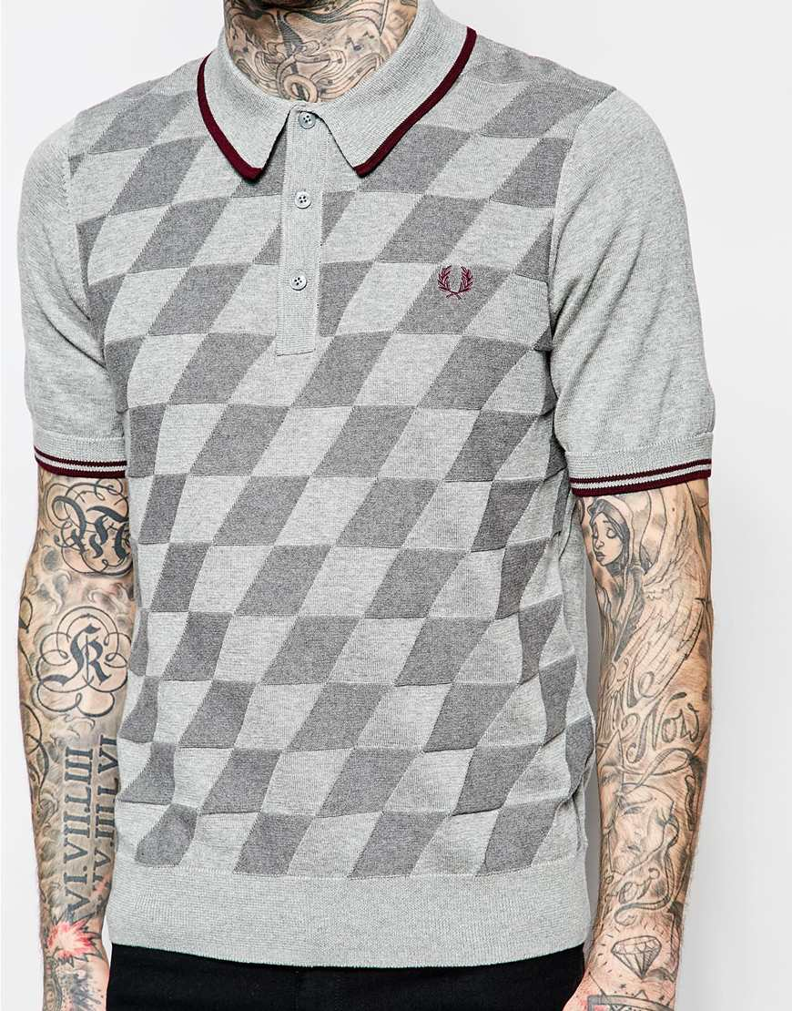 Lyst - Stussy Knitted Polo Shirt With Argyle Pattern in Blue for Men
