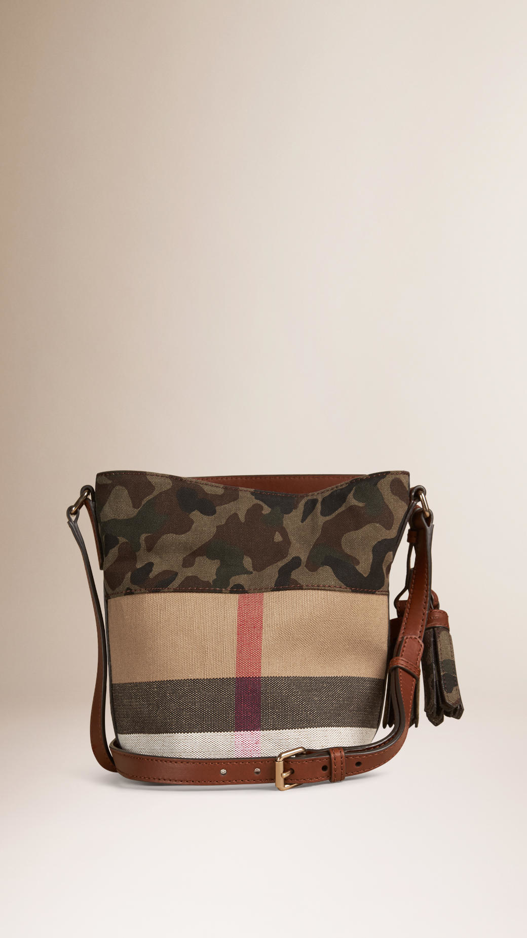 5615fffc26ea Lyst - Burberry The Small Ashby In Canvas Check And Camouflage in Brown