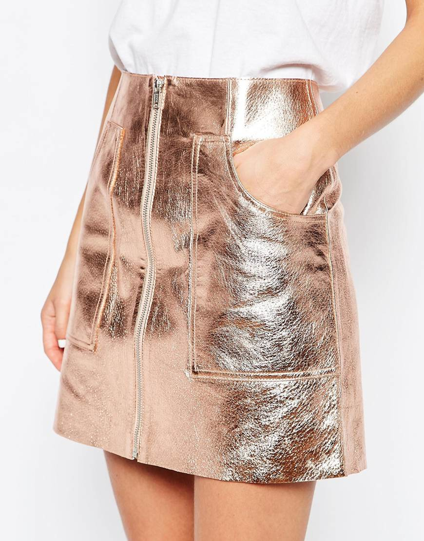 asos metallic leather skirt with oversized pockets in pink