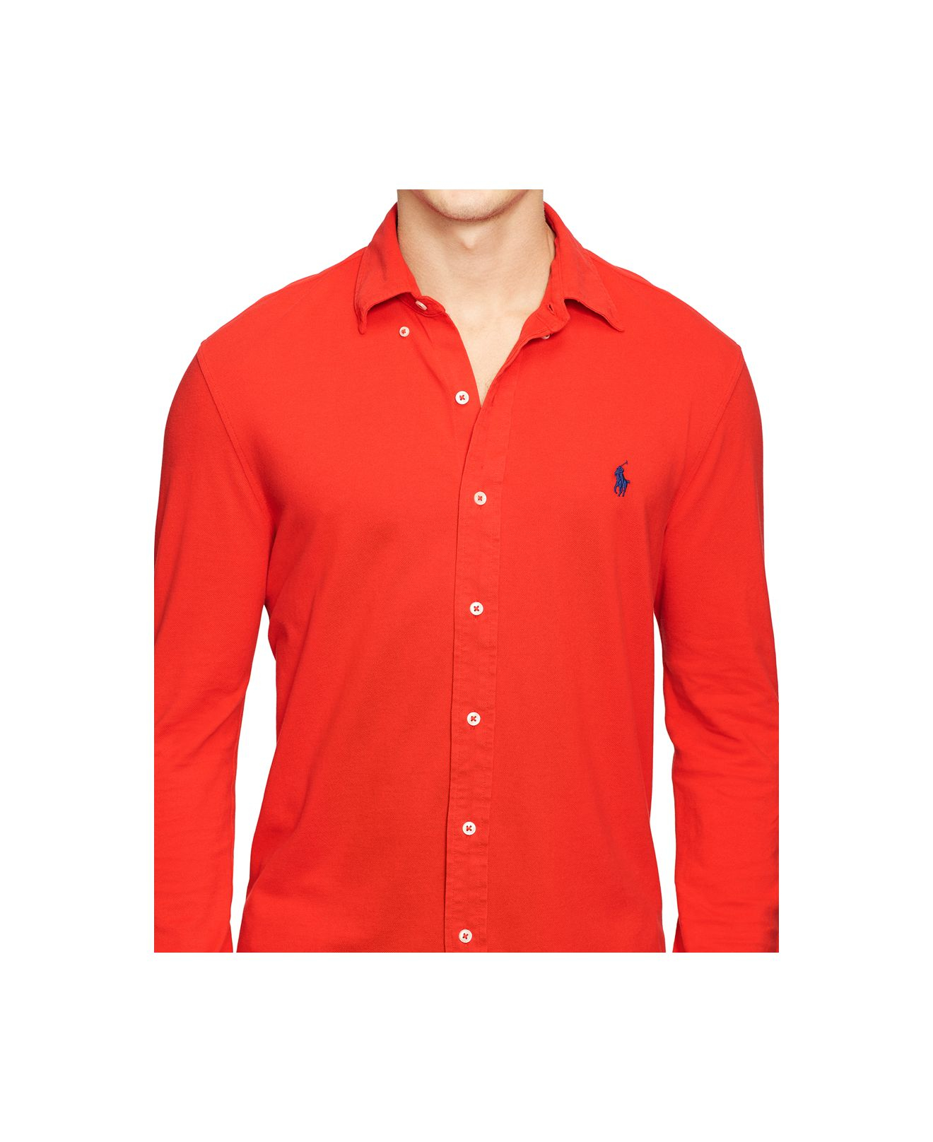 Red Long Sleeve Button Down Polo Shirt Bcd Tofu House