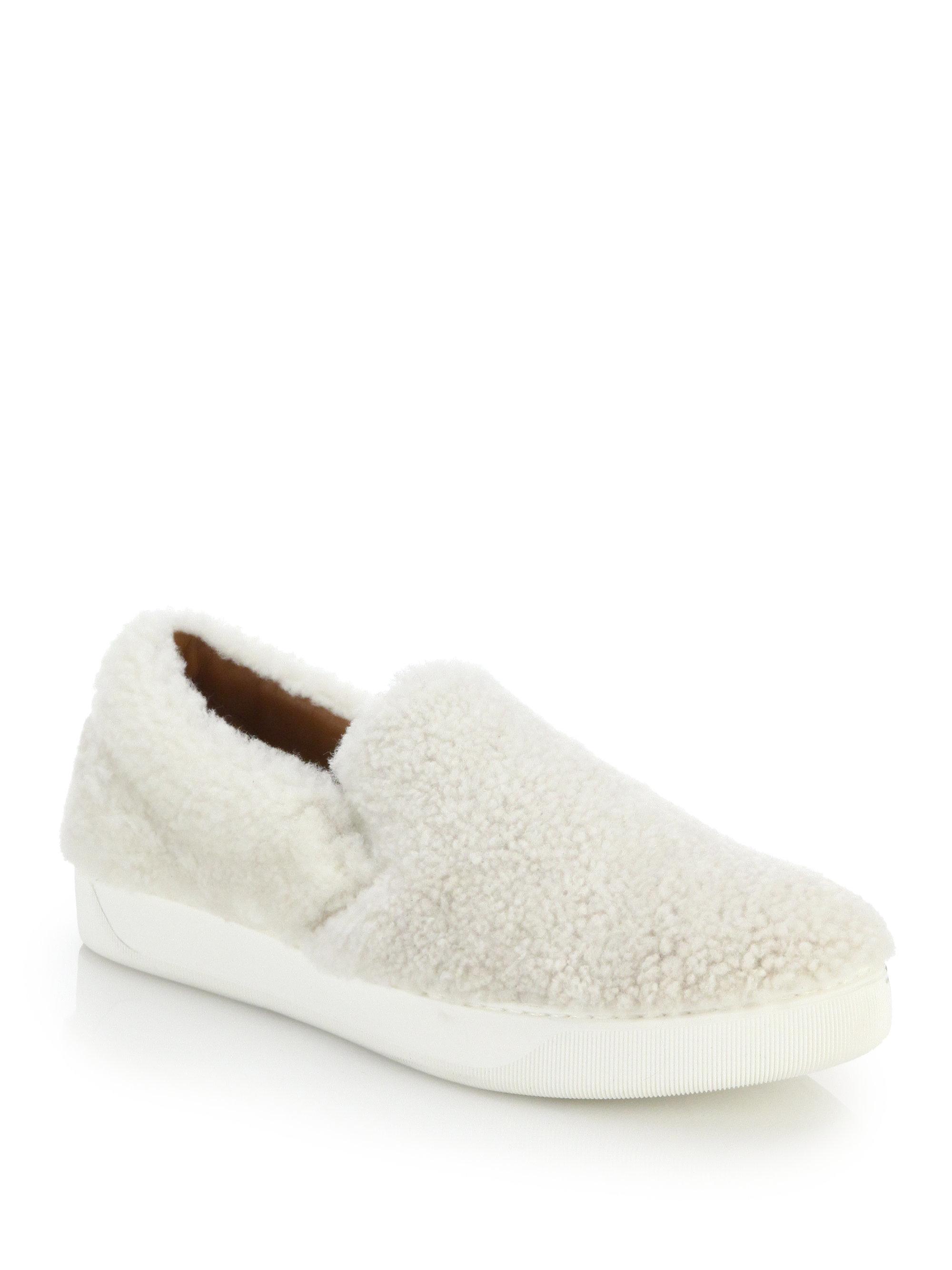 Moncler Roseline Lamb Fur U0026 Leather Slip-on Sneakers In ...