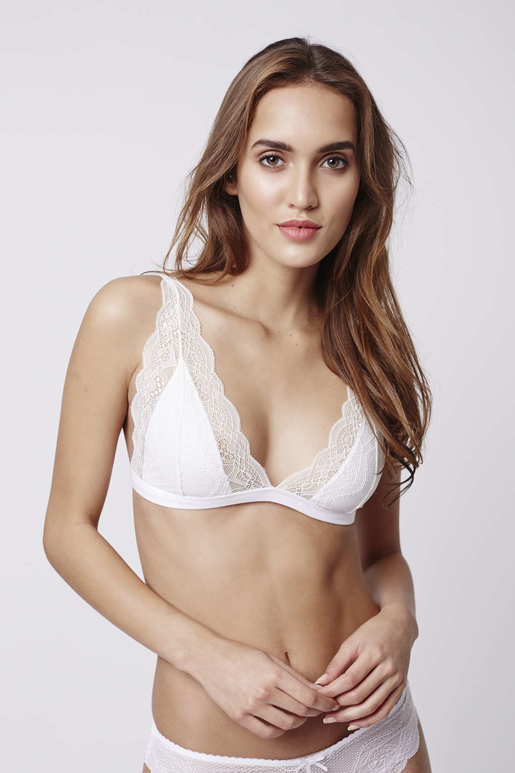df40cfd293524 Lyst - TOPSHOP Jersey Lace Triangle Bra in White