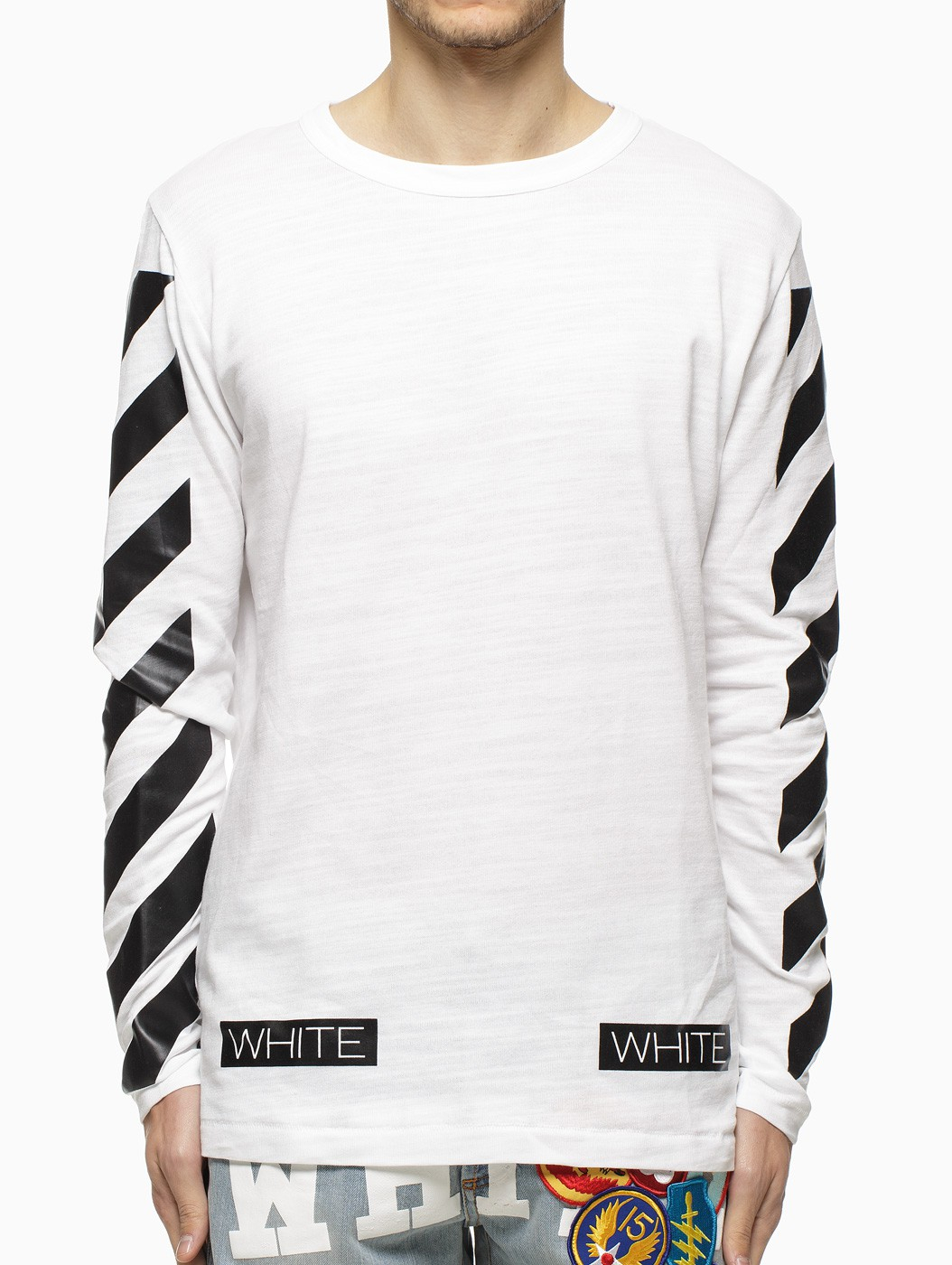 Off White C O Virgil Abloh Striped Long Sleeve T Shirt In