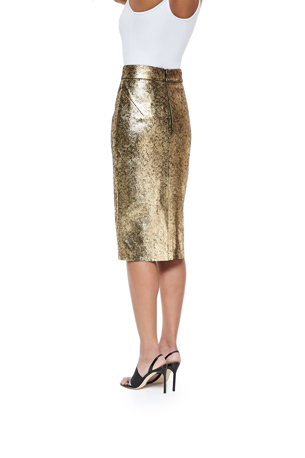 6408fccd66d Lyst - Raoul Metallic Leather Pencil Skirt in Metallic