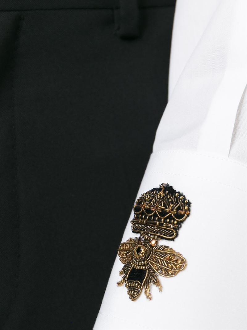 9700d146f6a Lyst - Dolce   Gabbana Beaded Crown   Bee Patch Shirt in White for Men