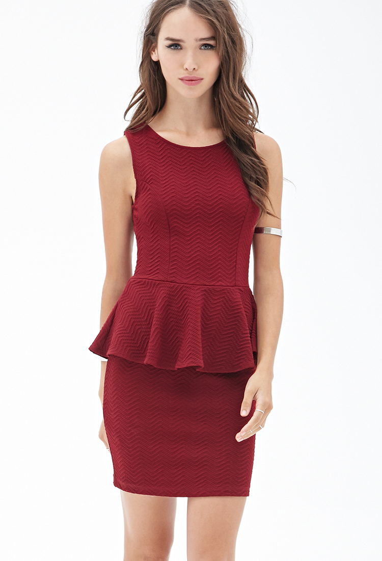 Forever 21 Textured Bodycon Peplum Dress in Red (Burgundy ...
