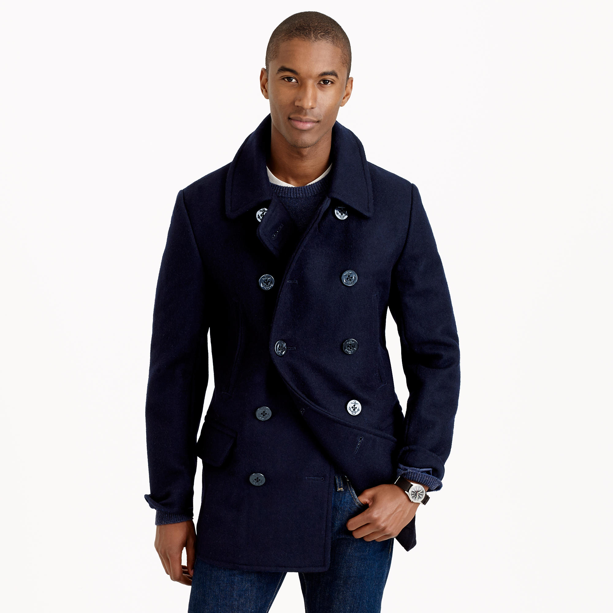 Dock peacoat with thinsulate in blue for men lyst for J crew mens outfits