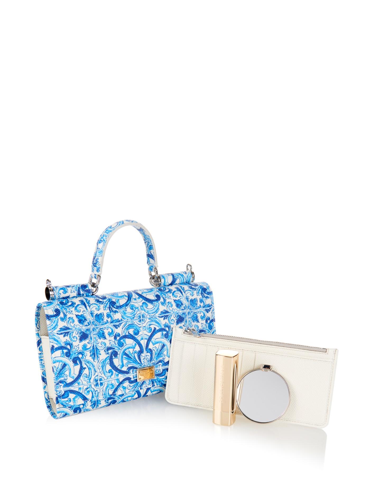 f0d58904eb Lyst - Dolce   Gabbana Dauphine Majolica-Print Cross-Body Bag in Blue